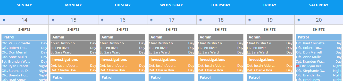 One week schedule view in PlanIt Police Scheduling Software.